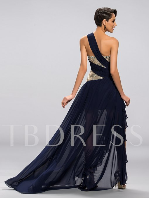 A-line One-shoulder Sequins High Low Evening Dress