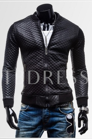 Black Plaid Zip-Front Men's PU Jacket