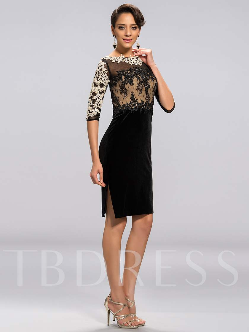 Sheath Appliques Knee-Length Mother of the Bride Dress