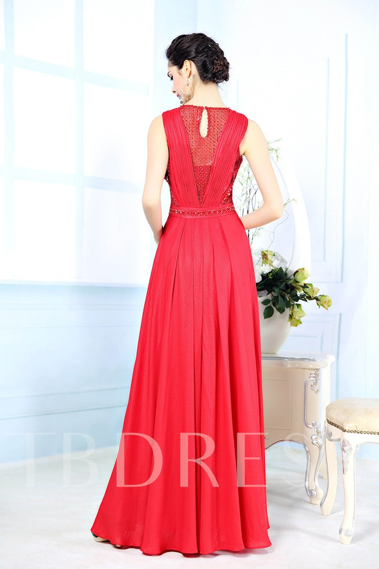 Jewel Neck Pleated A-Line Floor Length Evening Dress