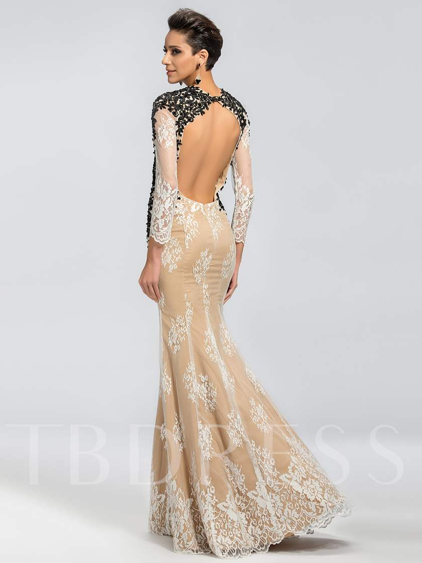 Lace Backless Mermaid Mother of the Bride Dress
