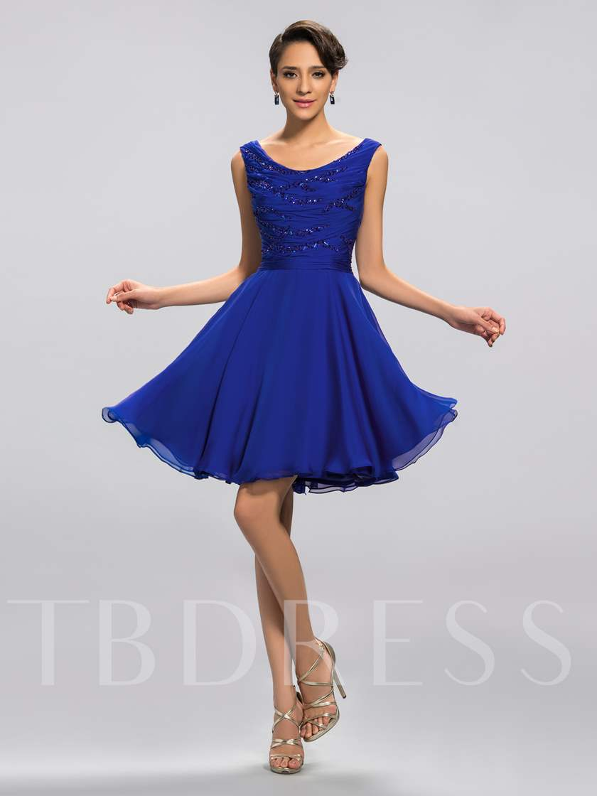 Scoop Neck Beadings Knee-Length Cocktail Dress