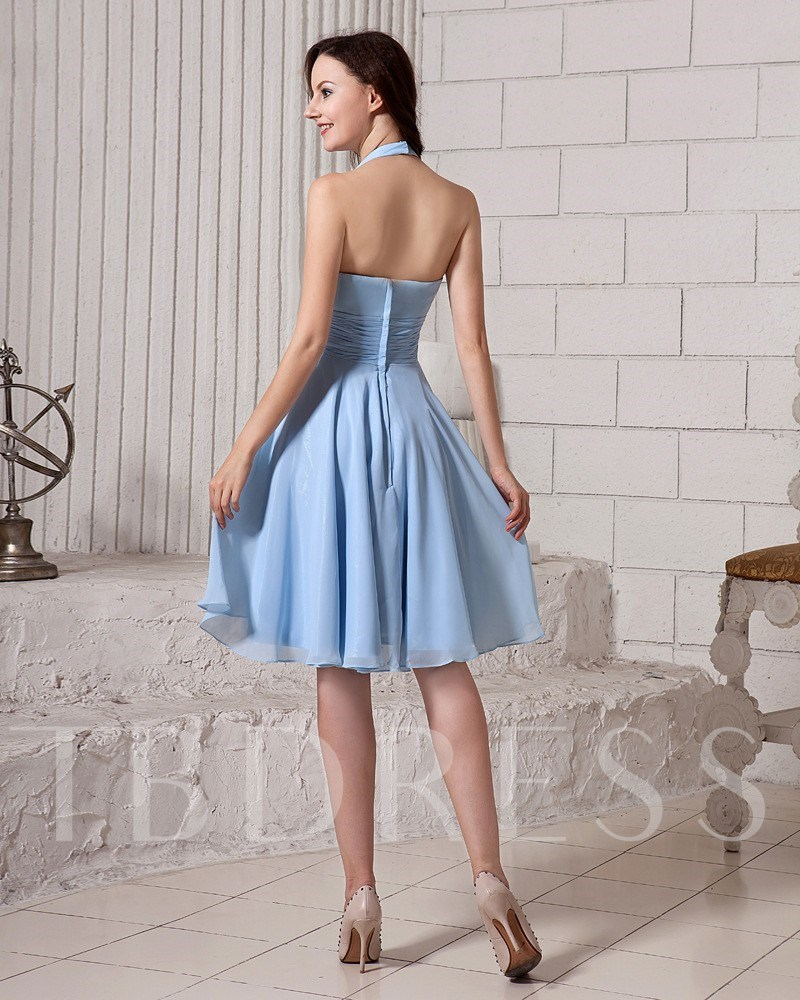 V-Neck Halter Flower Short Bridesmaid Dress