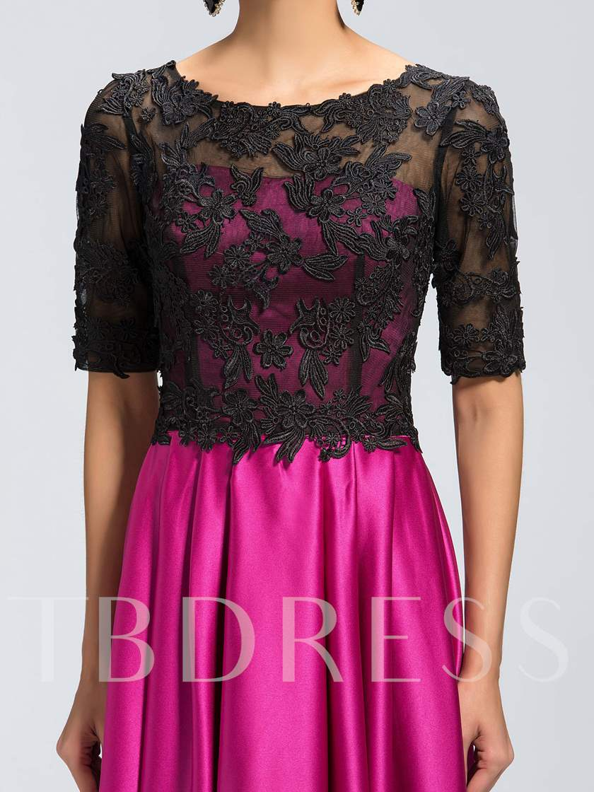 Half Sleeves Appliques Scoop Neck Satin Lace Mother Dress