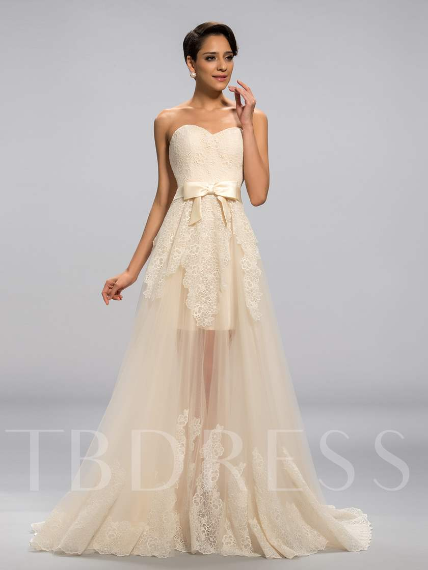 Sweetheart Neckline Lace Bowknot Sweep Train Evening/Prom Dress