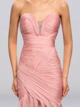 Sweetheart Pleats Split-Front Sheath Evening Dress