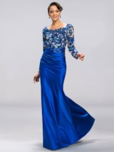 Long Sleeves Sequined Appliques Evening Dress