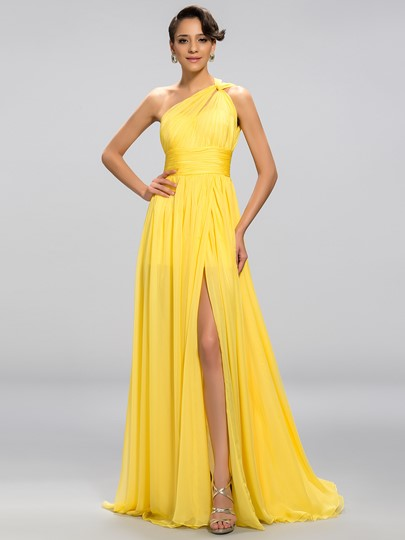 A-line Zipper-Up One-Shoulder Split-Front Floor-Length Evening Dress