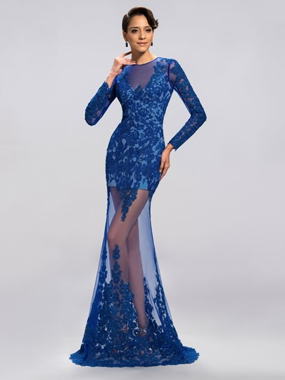 Column Applique Floor Length Evening/Prom Dress