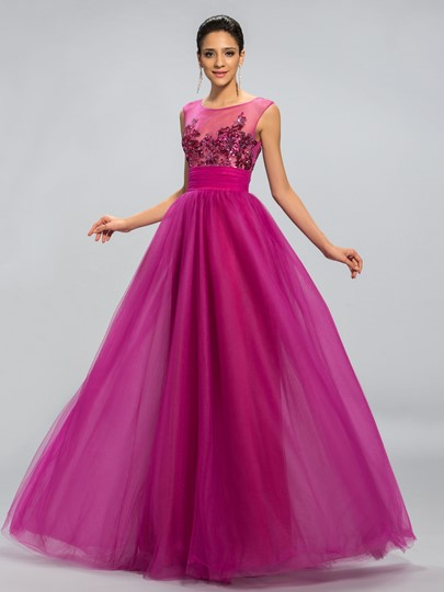 Sequins Appliques A-Line Long Prom Dress