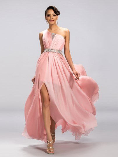 A-line One-Shoulder Beadings Front-Split Evening Dress