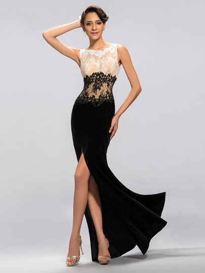 scoop velvet trumpet appliques zipper-up evening dress