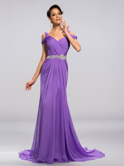 V-Neck Straps Beadings Ruflles A-Line Sweep Train Long Evening Dress
