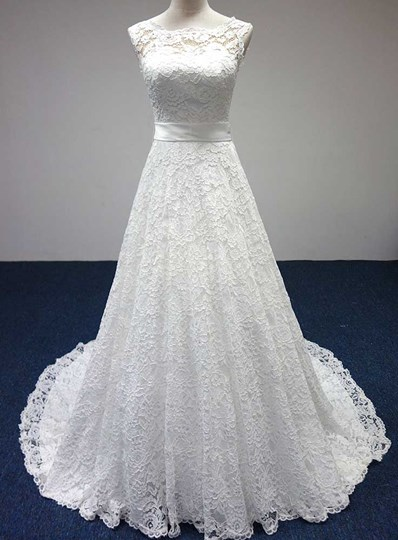 Bateau A-Line Lace Sash Bowknot Sleeveless Wedding Dress