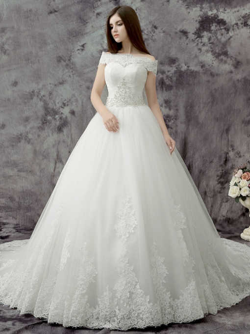 Ball Gown Off the Shoulder Appliques Sequins Wedding Dress