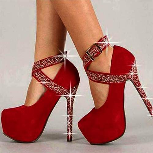 High Platform Heel Ankle Strap Women's Pumps