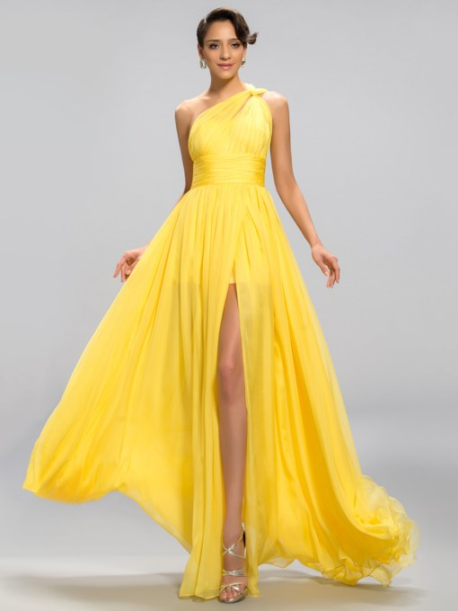 One Shoulder Pleats Split-Front Evening Dress