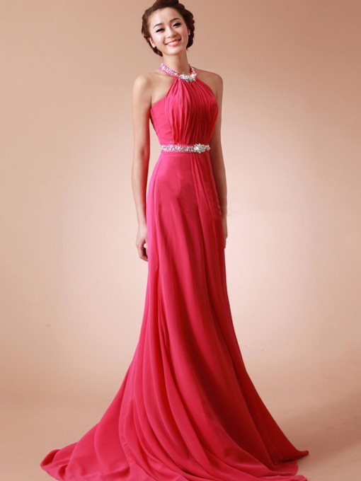A-Line Halter Beading Pleats Bridesmaid Dress