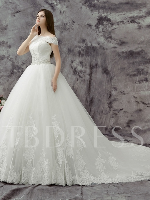 Ball Gown Off the Shoulder Applique Sequin Court Train Wedding Dress