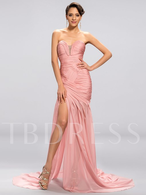 Strapless Sweetheart Mermaid Split-Front Evening Dress