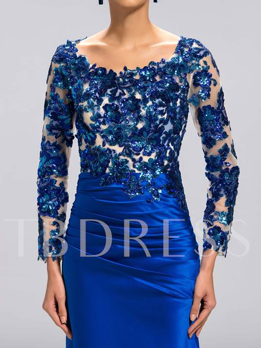 Scoop Long Sleeves Appliques Mother of the Bride Dress