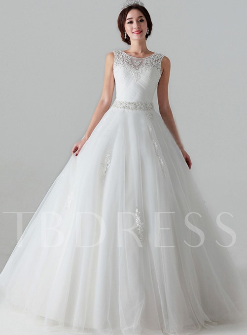 Ball Gown Scoop Applique Pleats Floor-Length Wedding Dress