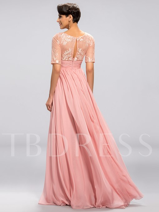 Half Sleeves A-Line Floor-Length Evening Dress
