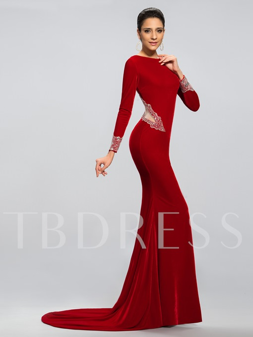 Velvet Mermaid Sweep/Brush Train Evening/Prom Dress