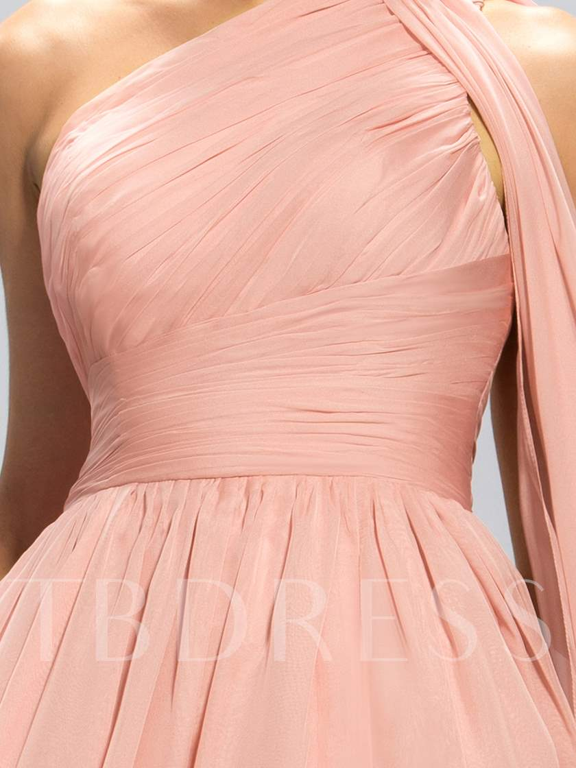 One-Shoulder Pleats Split-Front Evening Dress