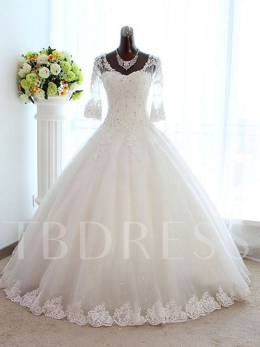 Floor-Length Long Sleeve Ball Gown Beading Appliques Wedding Dress