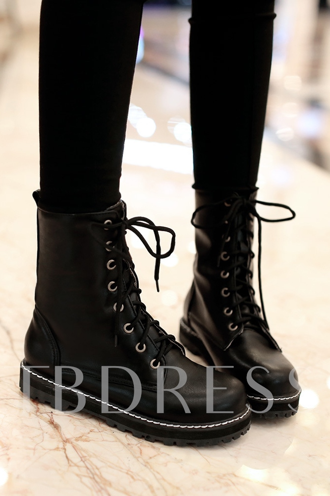 British Color Lace-Up Round Toe Martin Boots