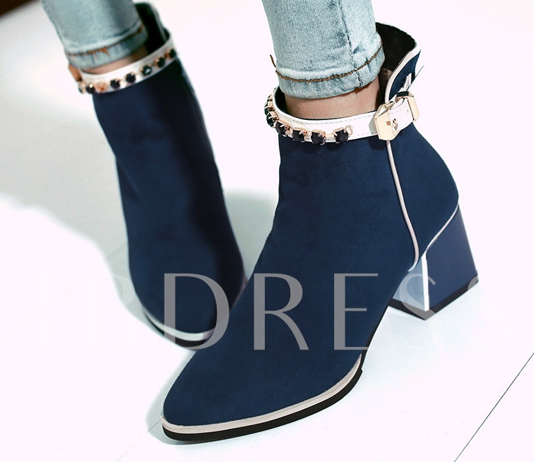 Pointed Toe Chunky Heel Rhinestone Decorated Short Boots
