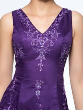 Embroidery Beading Tea-Length Mother of the Bride Dress with Shawl