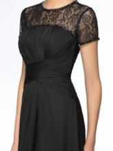 Beaded Lace Mother of the Bride Dress with Short Sleeve