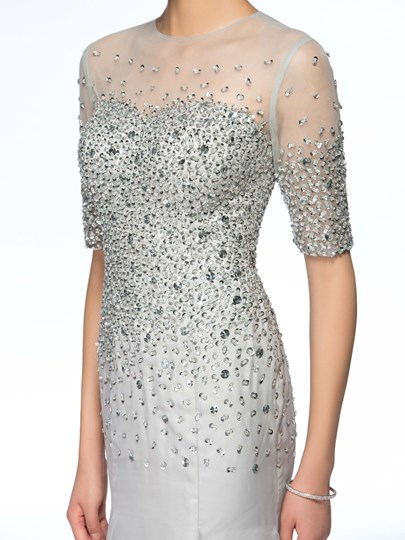 Beaded Sheath Mother of the Bride Dress with Sleeve