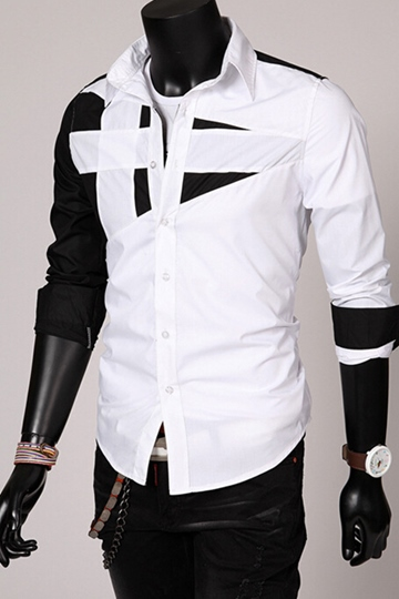 white/red/gray/army green/black lapel patchwork long sleeve slim fit casual mens shirt