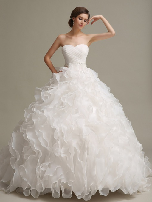 Ruffles Chapel Train Ball Gown Wedding Dress