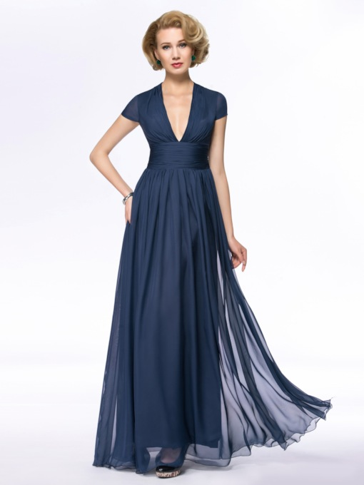V-Neck A-Line Floor Length Zipper-Up Mother Dress