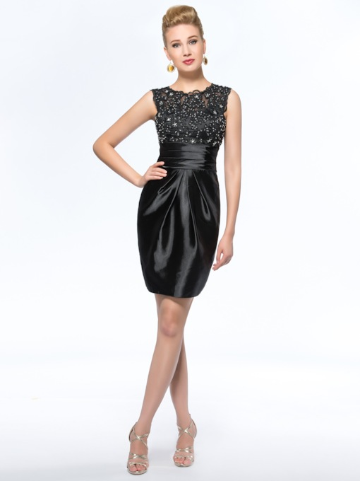 Appliques Sheath Beading Short Mother Of The Bride Dress