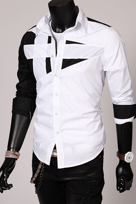White/Red/Gray/Army Green/Black Lapel Patchwork Long Sleeve Slim Fit Casual Men's Shirt