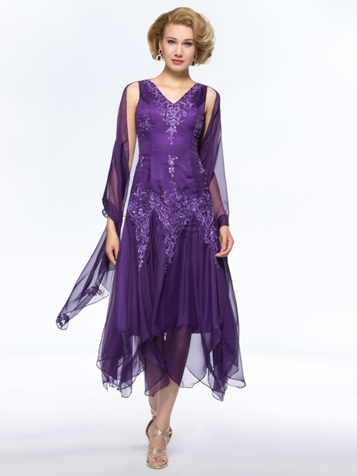 Embroidery Bead Tea-Length Mother of the Bride Dress with Shawl