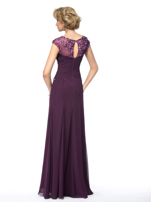 A-line Bateau Neck Beadings Floor-Length Mother Dress