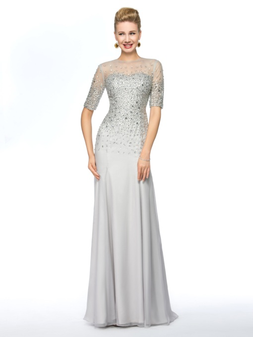 Sheath Half Sleeve Beaded Mother Of The Bride Dress
