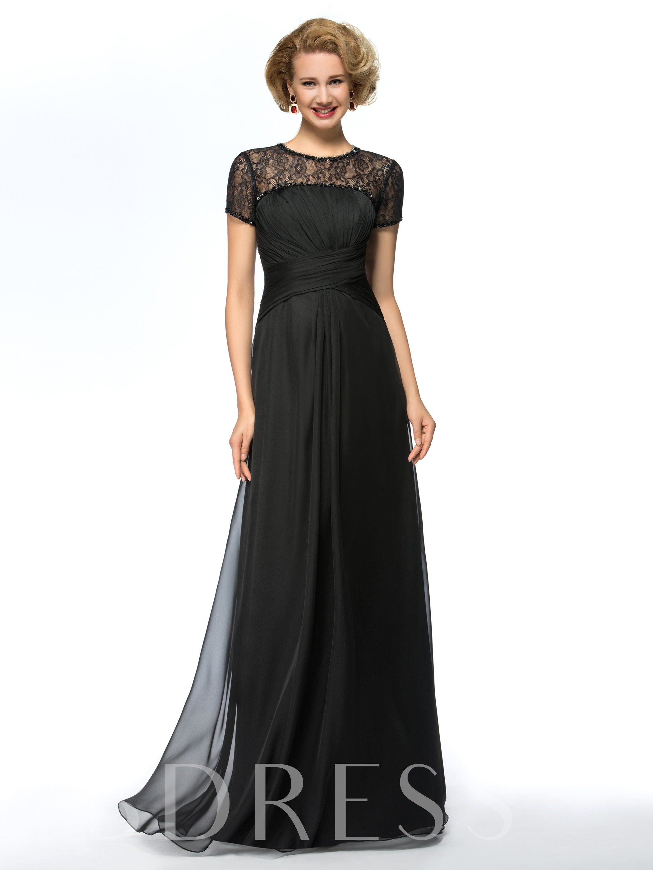 Image of Beaded Jewel Neck Lace Mother of the Bride Dress