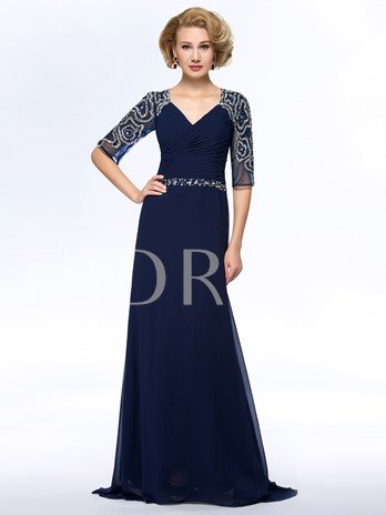 A-Line Beadings 3/4 Long Sleeves Mother Dress