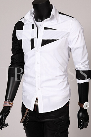 Lapel Patchwork Long Sleeve Slim Fit Casual Men's Shirt