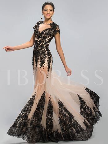 Jewel Neckline Appliques Court Train Evening Dress Designed Independently
