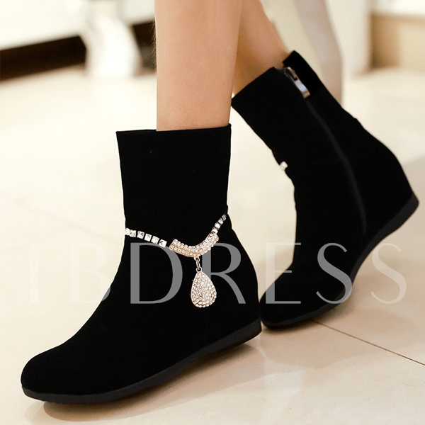 Black Elevator Heel Side Zipper Women's Short Boots