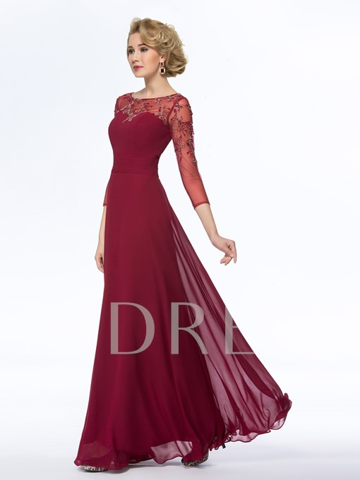 A-Line Bateau 3/4 Length Sleeves Tulle Mother Dress