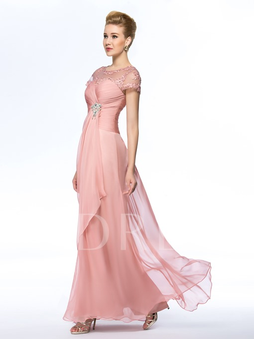 Beading Scoop Neck Short Sleeve Mother of the Bride Dress